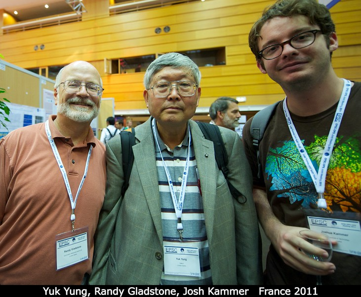 Yuk Yung (Caltech), surrounded by previous and current grad students Randy Gladstone (SwRI) and Josh Kammer.<br /> <br /> Credit: Henry Throop<br /> Oct 2011