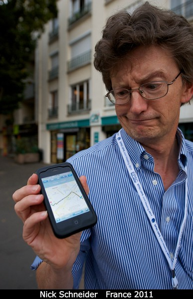 Nick Schneider (CU) doesn't know his way around Nantes, but his data plan does.<br /> <br /> Credit: Henry Throop<br /> Oct 2011