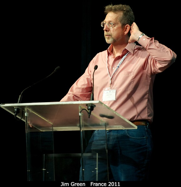 """Jim Green: """"Do you support the Decadal Survey? I can't hear you. . .""""<br /> <br /> Credit: Henry Throop<br /> Oct 2011"""