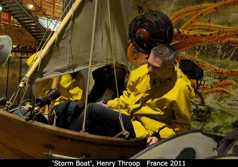 'The Magician' told me to follow him and offered me a ride on their Storm Boat. So here I am, after the rocking is on but before the wind, rain, and lightning have kicked in. That's Justin Erwin (UVa) across from me, blocked by the sail.<br /> <br /> Credit: Henry Throop<br /> Oct 2011