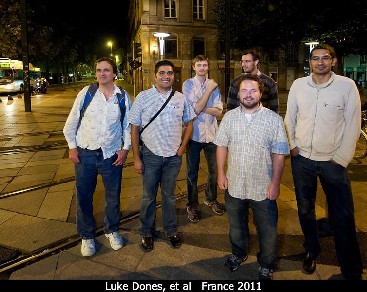 Luke Dones, Carlos Chavez, Mike Roman, Roderik Koenders, Patrick Taylor, and Kartik Kumar walking home through Nantes.<br /> <br /> Credit: Henry Throop<br /> Oct 2011