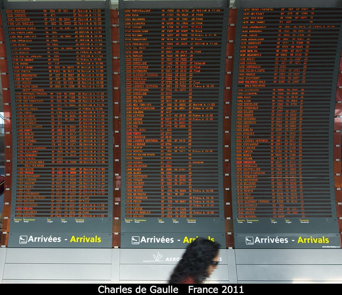The amazing arrivals board at Charles de Gaulle.<br /> <br /> Credit: Henry Throop<br /> Oct 2011