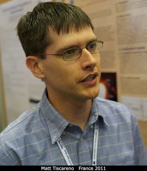 Matt Tiscareno (Cornell) at the rings poster session.<br /> <br /> Credit: Henry Throop<br /> Oct 2011