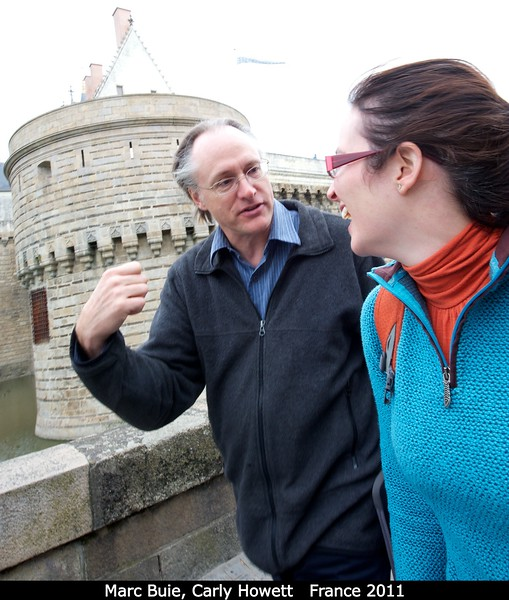 Marc Buie and Carly Howett walk past the Nantes castle. They appear unconcerned about the moat below!<br /> <br /> Credit: Henry Throop<br /> Oct 2011