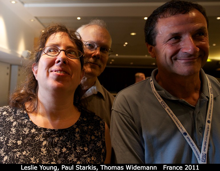 Leslie Young (SwRI), Paul Starkis, and Thomas Widemann (Obs. Paris) perform an all-sky survey of the Kuiper Belt from inside the conference center.<br /> <br /> Credit: Henry Throop<br /> Oct 2011