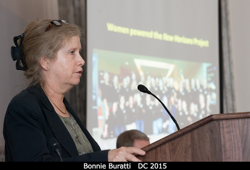First up: Bonnie Buratti. That slide in the background (captioned 'Women Powered the New Horizons Project') is a great contrast to the Apollo era.<br /> <br /> Credit: Henry Throop<br /> Oct 2015<br /> DPS47 National Harbor