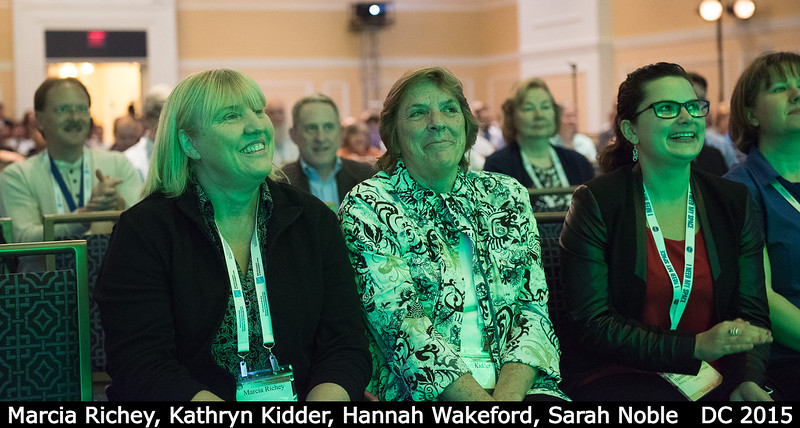 A cheering section for Chrissy Richey: her mom Marcia Richey, aunt Kathryn Kidder, Hannah Wakeford, and half of Sarah Noble.<br /> <br /> Credit: Henry Throop<br /> Oct 2015<br /> DPS47 National Harbor