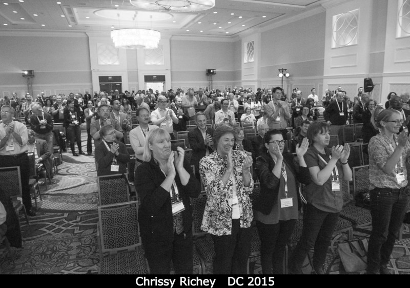 A rare and well-deserved standing ovation after Chrissy Richey's talk.<br /> <br /> Credit: Henry Throop<br /> Oct 2015<br /> DPS47 National Harbor