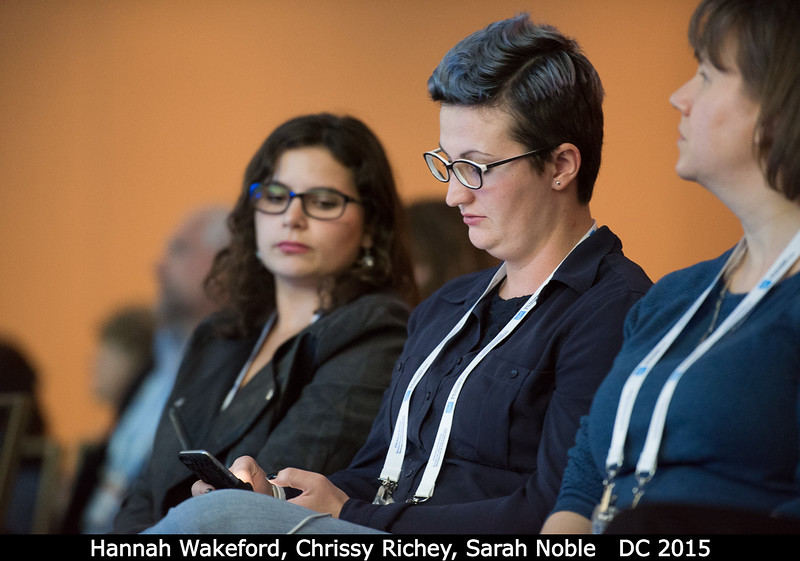 Hannah Wakeford (GSFC), Chrissy Richey, and Sarah Noble.<br /> <br /> Credit: Henry Throop<br /> Oct 2015<br /> DPS47 National Harbor