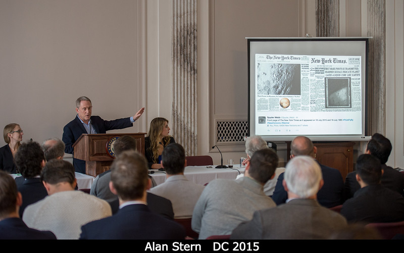 Unplanned but true: New York Times headlines separated by 50 years to the day. July 17, 1965 reads 'First Mars Photo Is Transmitted', from Mariner 4. With Alan Stern.<br /> <br /> Credit: Henry Throop<br /> Oct 2015<br /> DPS47 National Harbor