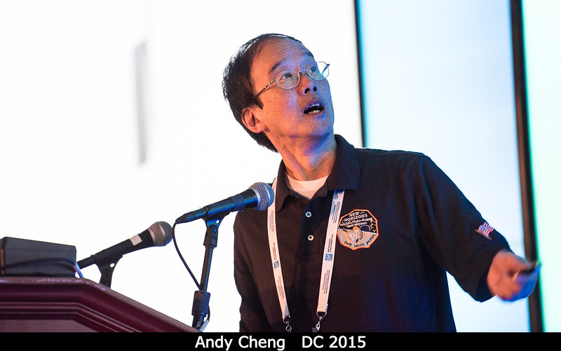 Andy Cheng (APL) points at some of those beautiful LORRI pixels.<br /> <br /> Credit: Henry Throop<br /> Oct 2015<br /> DPS47 National Harbor