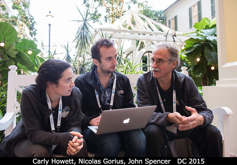 "Carly Howett, Nicolas Gorius (Catholic U), and John Spencer sit in the hotel's ""outdoor"" indoor seating area.<br /> <br /> Credit: Henry Throop<br /> Oct 2015<br /> DPS47 National Harbor"
