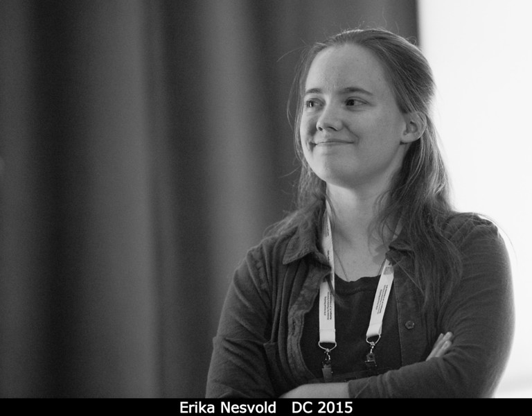 Moderator Erika Nesvold makes sure that no one misbehaves during that plenary.<br /> <br /> Credit: Henry Throop<br /> Oct 2015<br /> DPS47 National Harbor