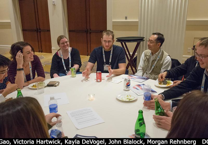 Peter Gao (Caltech), Victoria Hartwick, Kayla DeVogel (NMSU), John Blalock (speaking, at center), ?, Morgan Rehnberg (far right).<br /> <br /> Credit: Henry Throop<br /> Oct 2015<br /> DPS47 National Harbor