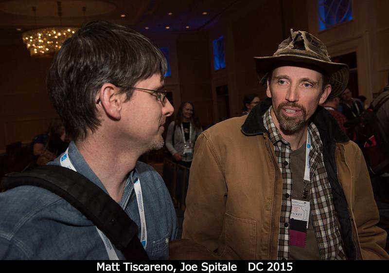 Matt Tiscareno and Joe Spitale confer afterwards.<br /> <br /> Credit: Henry Throop<br /> Oct 2015<br /> DPS47 National Harbor