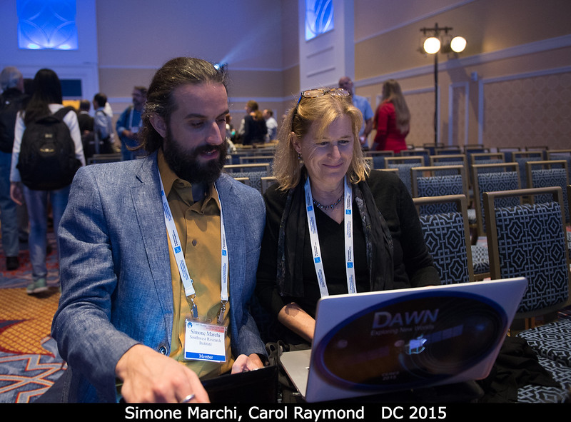 Simone Marchi (SwRI) and Carol Raymond (JPL).<br /> <br /> Credit: Henry Throop<br /> Oct 2015<br /> DPS47 National Harbor