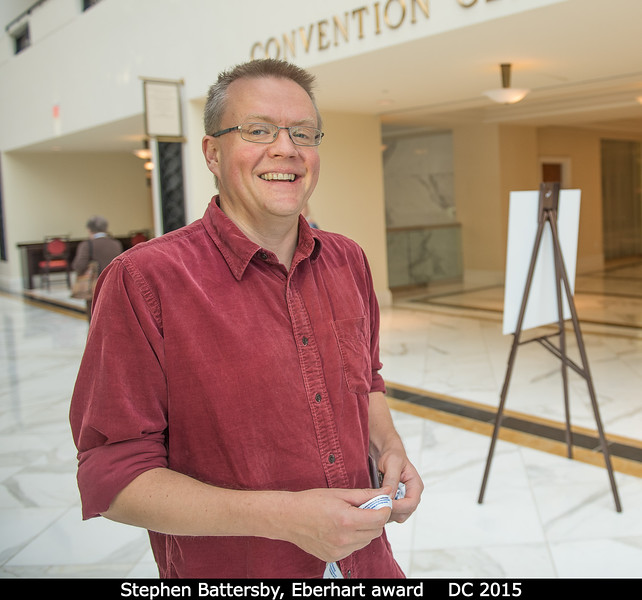Freelance journalist Stephen Battersby. I missed an action shot of him, but he was given the Eberhart Award for science writing.<br /> <br /> Credit: Henry Throop<br /> Oct 2015<br /> DPS47 National Harbor