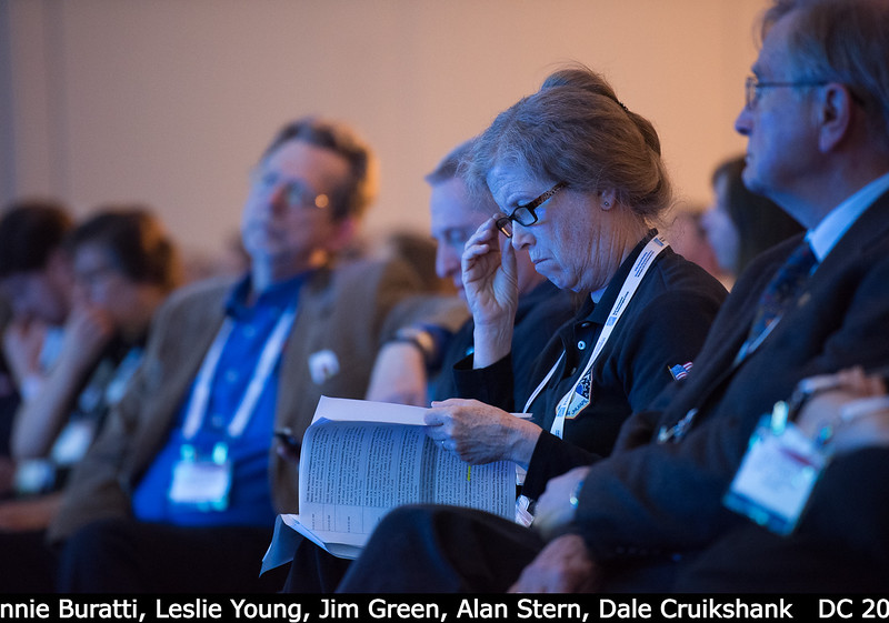 Bonnie Buratti (JPL), with Leslie Young, Jim Green (HQ), Alan Stern, and Dale Cruikshank.<br /> <br /> Credit: Henry Throop<br /> Oct 2015<br /> DPS47 National Harbor
