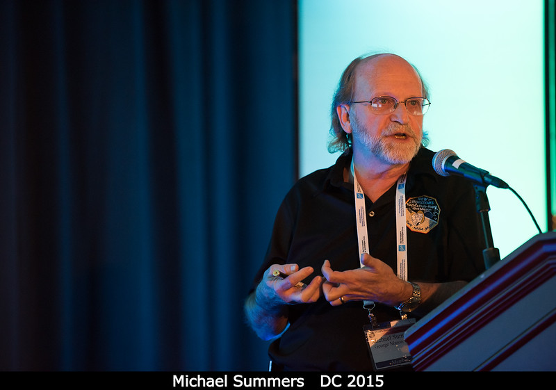 Michael Summers (George Mason) talks about global haze production at Pluto, which may be similar to that at Titan.<br /> <br /> Credit: Henry Throop<br /> Oct 2015<br /> DPS47 National Harbor