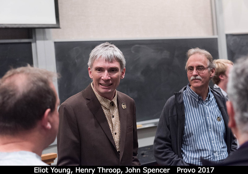 Talking with attendees after the talk. Looks like Eliot Young and John Spencer, along with Henry Throop.