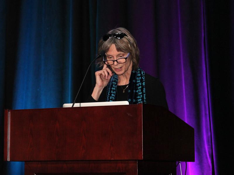 Caitlin Griffiths introducing speaker Sarah Hörst.<br /> <br /> Credit: Rick Fienberg<br /> 18 Oct 2017<br /> DPS49 Provo