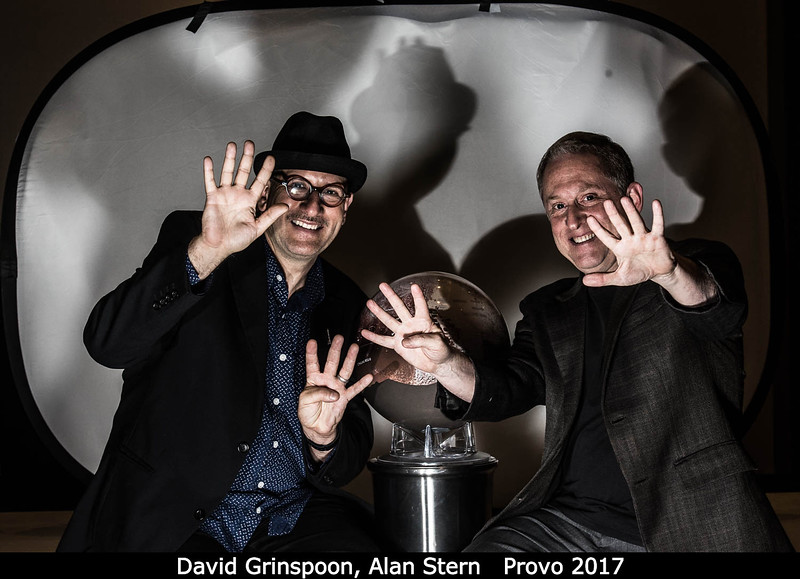 David Grinspoon (PSI) and Alan Stern (SwRI) have found the underworld, but are intent on keeping it to themselves!<br /> <br /> Credit: Henry Throop<br /> 18 Oct 2017<br /> DPS49 Provo