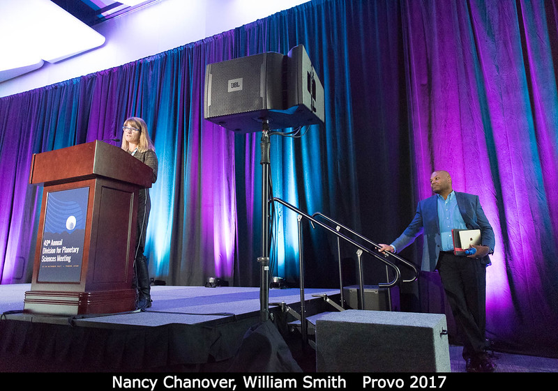 Nancy Chanover (NMSU) introduces the next speaker: William Smith (U. Utah).<br /> <br /> Credit: Henry Throop<br /> 18 Oct 2017<br /> DPS49 Provo