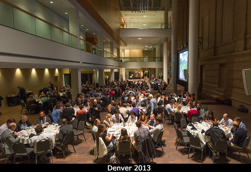 Banquet at the Denver Museum of Nature and Science. The dinosaurs are off to the right, and ahead is Space Odyssey, which we got to tour for dessert.<br /> <br /> Credit: Henry Throop<br /> Oct 2013<br /> DPS45 Denver
