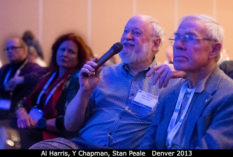 Al Harris (MoreData!, ex-JPL) get the microphone, between Y Chapman and Stan Peale (USCB).<br /> <br /> Credit: Henry Throop<br /> Oct 2013<br /> DPS45 Denver