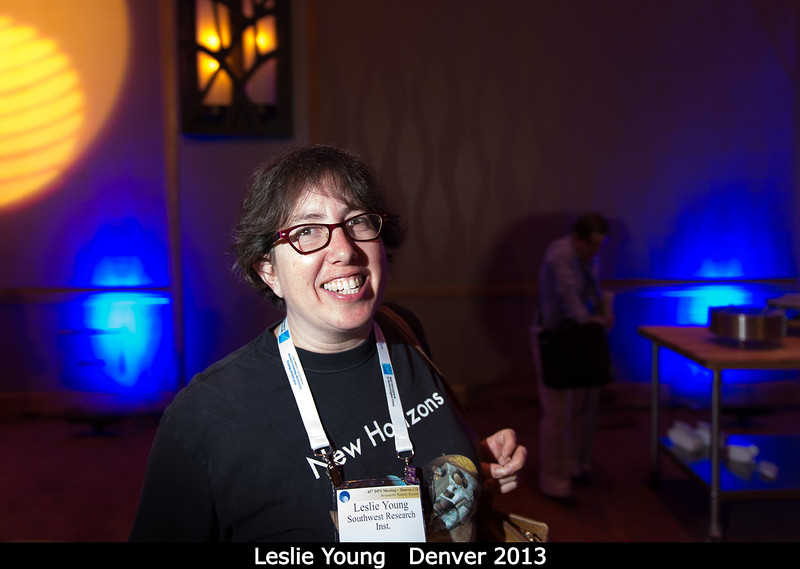 Leslie Young (SwRI) is always looking for new horizons.<br /> <br /> Credit: Henry Throop<br /> Oct 2013<br /> DPS45 Denver