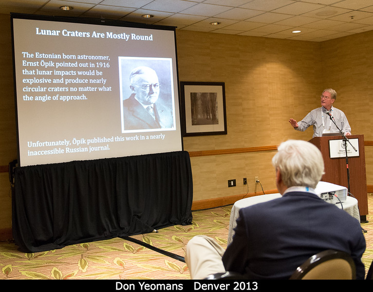 Don Yeomans (JPL) discusses the history of studies of lunar craters.<br /> <br /> Credit: Henry Throop<br /> Oct 2013<br /> DPS45 Denver
