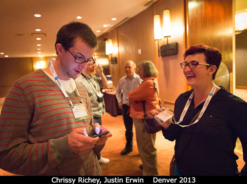 Chrissy Richey (NASA HQ) recruits Justin Erwin for a review panel. Do it, Justin!<br /> <br /> Credit: Henry Throop<br /> Oct 2013<br /> DPS45 Denver