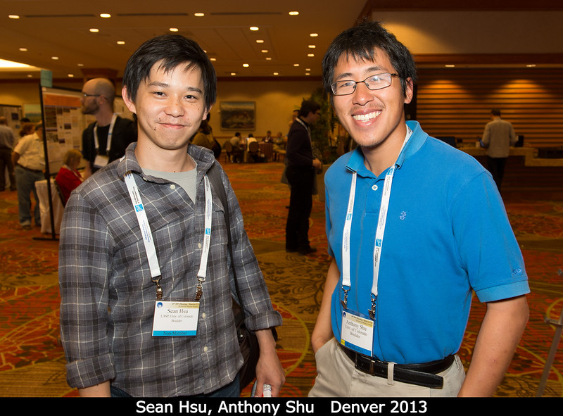Sean Hsu and Anthony Shu (both U. Colorado). I'm headed to Boulder the week after DPS to spend a week generating high-speed dust grains with Anthony.<br /> <br /> Credit: Henry Throop<br /> Oct 2013<br /> DPS45 Denver