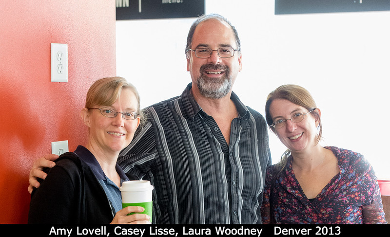 Amy Lovell (Agnes Scott), Casey Lisse (APL), and Laura Woodney (CSU San Bernadino) all seek refreshment, although only Amy has succeeded.<br /> <br /> Credit: Henry Throop<br /> Oct 2013<br /> DPS45 Denver