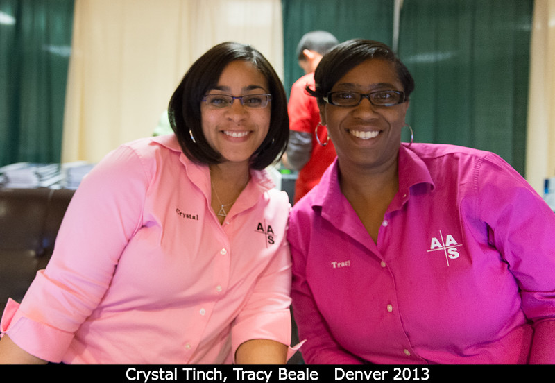 Crystal Tinch and Tracy Beale (both from the AAS) at the registration desk.<br /> <br /> Credit: Henry Throop<br /> Oct 2013<br /> DPS45 Denver