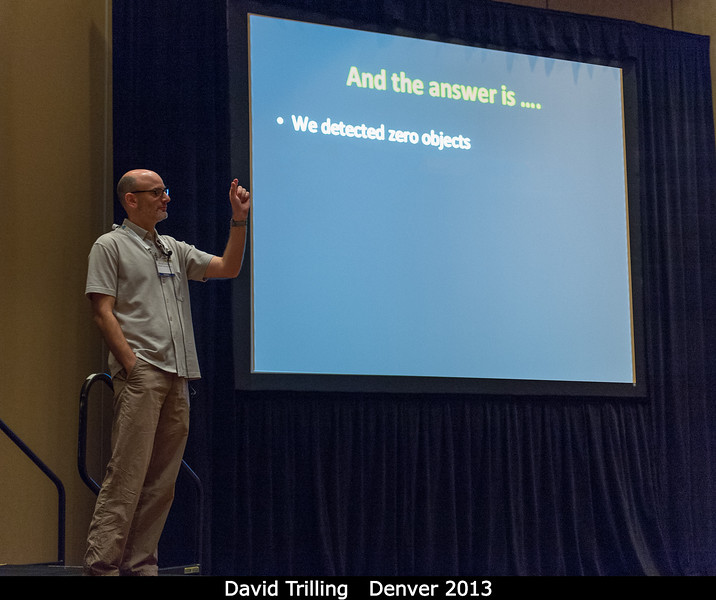 "David Trilling (NAU) gives the big news on their sub-100-meter NEO search. What's next? ""Like any good scientist, we proposed for a bigger, better, followup study!""<br /> <br /> Credit: Henry Throop<br /> Oct 2013<br /> DPS45 Denver"