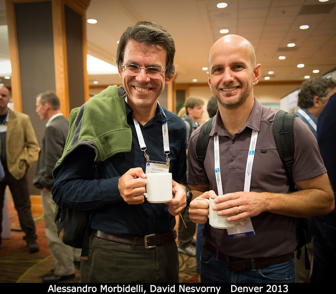 Alessandro Morbidelli (Observatoire de la Cote D'Azur) and David Nesvorny (SwRI) ingest thermalized test particles in an attempt to randomize their orbits.<br /> <br /> Credit: Henry Throop<br /> Oct 2013<br /> DPS45 Denver