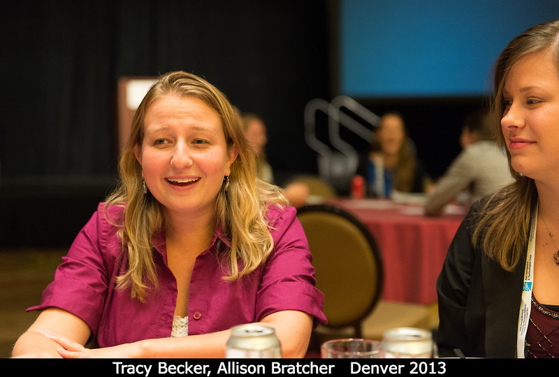 Tracy Becker and Allison Bratcher (both UCF), at the grad student mixer.<br /> <br /> Credit: Henry Throop<br /> Oct 2013<br /> DPS45 Denver