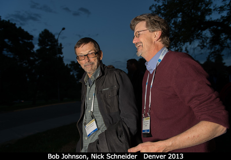 Bob Johnson (UVa) and Nick Schneider walk around to the other side of the museum.<br /> <br /> Credit: Henry Throop<br /> Oct 2013<br /> DPS45 Denver
