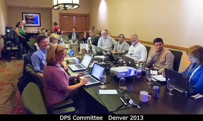 The DPS Committee at work!<p>Around the table, that's... </p><ul> <li>Heidi Hammel (Incoming Chair; AURA) </li><li>Nick Schneider (Education &amp; Public Outreach Officer; U. Colorado) </li><li>Athena Coustenis (Secretary; Pic du Midi) </li><li>Cristina Thomas (Nominating Committee -- standing, in green; GSFC) </li><li>John Spencer (SWRI, standing) </li><li>Bonnie Buratti (Vice-Chair; JPL, hair only) </li><li>Ross Beyer (Committee; Ames) </li><li>Vishnu Reddy (Press Officer; PSI) </li><li>Kim Earle (standing, in red; AAS) </li><li>___ </li><li>Jani Radebaugh (Committee; BYU) </li><li>Paul Withers (Committee; Boston U) </li><li>___ (against wall) </li><li>Ralph McNutt (Committee; APL) </li><li>Bob Pappalardo (Committee; JPL) </li><li>Dan Britt (outgoing chair, and soon to be voted into the Nominating Committee) </li><li>Tony Roman (Webmaster; STScI) </li><li>Rosaly Lopes (Outgoing Chair; JPL)<p>I gave a presentation here too, as outgoing chair of the Nominating Committee.</p></li></ul>  <p> Credit: Henry Throop</p><p> Oct 2013</p><p> DPS45 Denver</p>