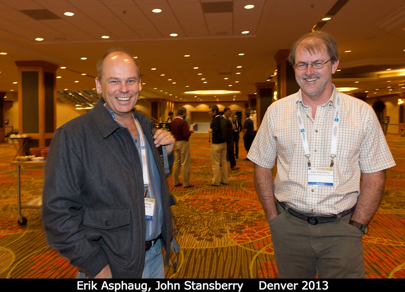 That's Erik Asphaug (UCSC) and John Stansberry (STScI).<br /> <br /> Credit: Henry Throop<br /> Oct 2013<br /> DPS45 Denver