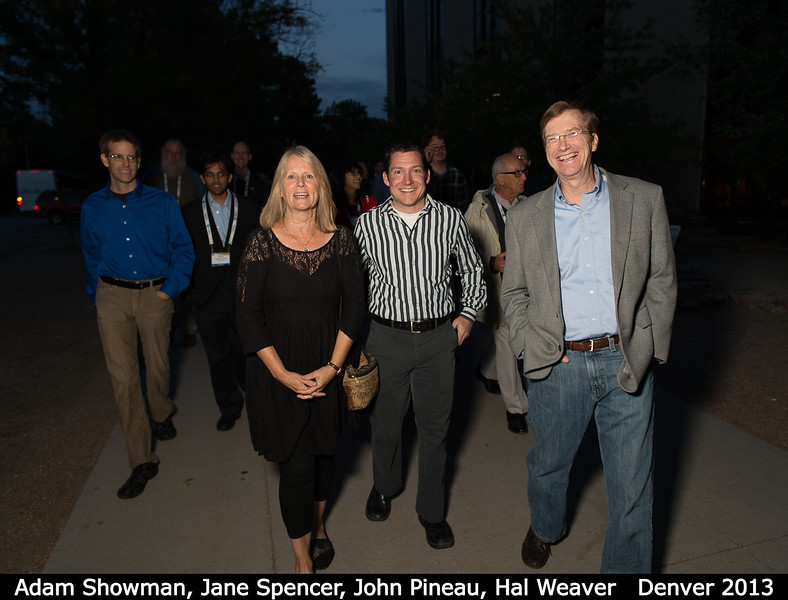 Adam Showman, Jane Spencer, John Pineau (SwRI), and Hal Weaver.<br /> <br /> Credit: Henry Throop<br /> Oct 2013<br /> DPS45 Denver