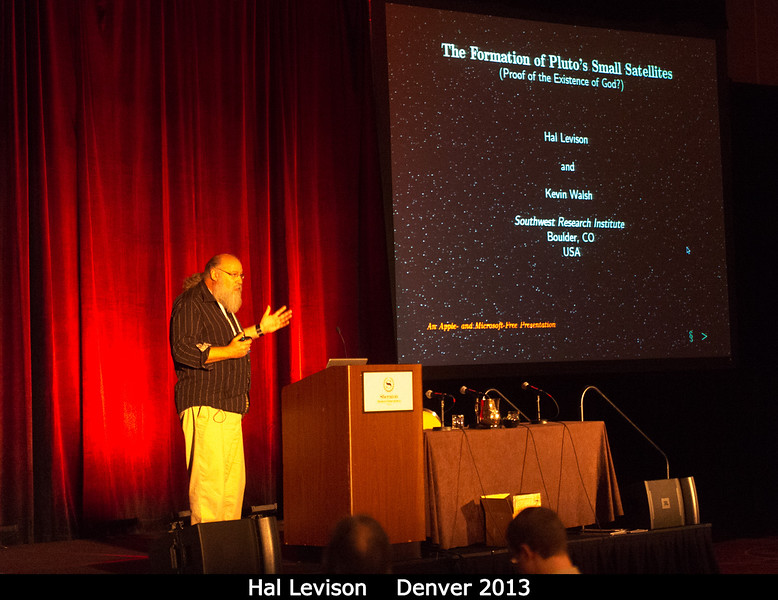 "Hal Levison has the best talk title of the conference (""The Formation of Pluto's Small Satellites: Proof of the Existence of God?"")<br /> <br /> Credit: Henry Throop<br /> Oct 2013<br /> DPS45 Denver"