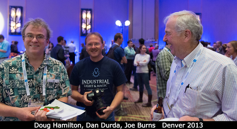 At the opening reception, with Doug Hamilton (UMD), Dan Durda (SwRI), and Joe Burns (Cornell). <p>Trivia question: how many DPS members can boast that they have an degree from a school of Naval Architecture? I don't know, but it's at least one! Joe Burns is a graduate of the Webb Institute, a privately endowed school on Long Island that I'd never heard of before he told me about it. Hey -- ship vs. spaceship?</p> <p> Credit: Henry Throop</p><p> Oct 2013</p><p> DPS45 Denver</p>