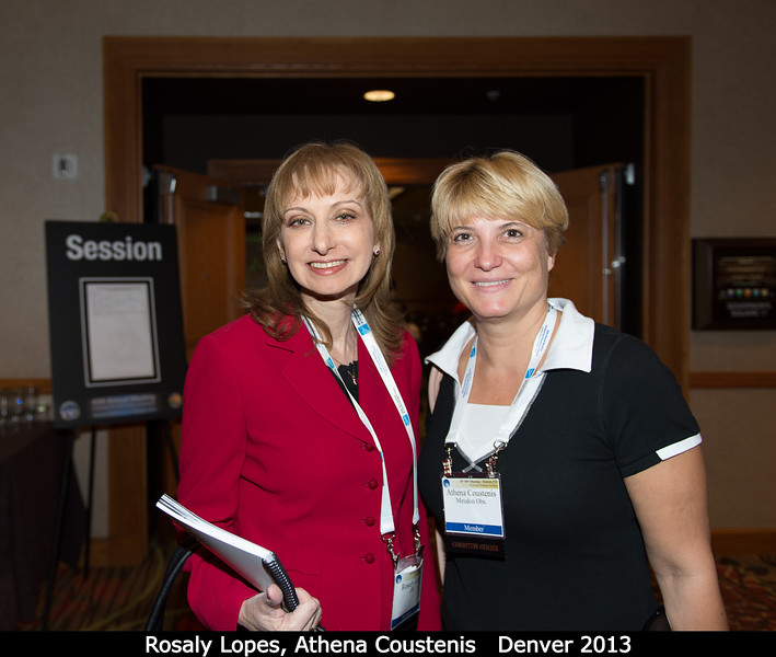 Rosaly Lopes (outgoing DPS chair) and Athena Coustenis (DPS secretary).<br /> <br /> Credit: Henry Throop<br /> Oct 2013<br /> DPS45 Denver