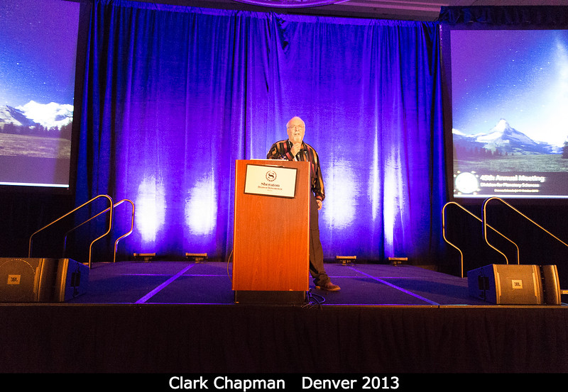 Clark Chapman (SwRI) discusses why David Morrison (NASA Ames) will not be here to discuss anything at all. David Morrison was among the civil servants unable to come to DPS this year because of federal travel limitations.<br /> <br /> Credit: Henry Throop<br /> Oct 2013<br /> DPS45 Denver