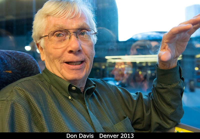 """Heading over to the banquet at the Denver Museum of Nature and Science, I share a bus ride with Don Davis. Unlike last time he and I talked, I now know that there are two different people: <a href=""""http://www.donaldedavis.com/"""">Don Davis the artist</a>, and <a href=""""http://www.psi.edu/about/staff/drd.html"""">Don Davis the scientist</a> (pictured here, talking with me about dark skies, fracking, and South Africa).  <p> Credit: Henry Throop</p><p> Oct 2013</p><p> DPS45 Denver</p>"""