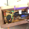 RGB Metronome project, electronics being loaded into the wood box.