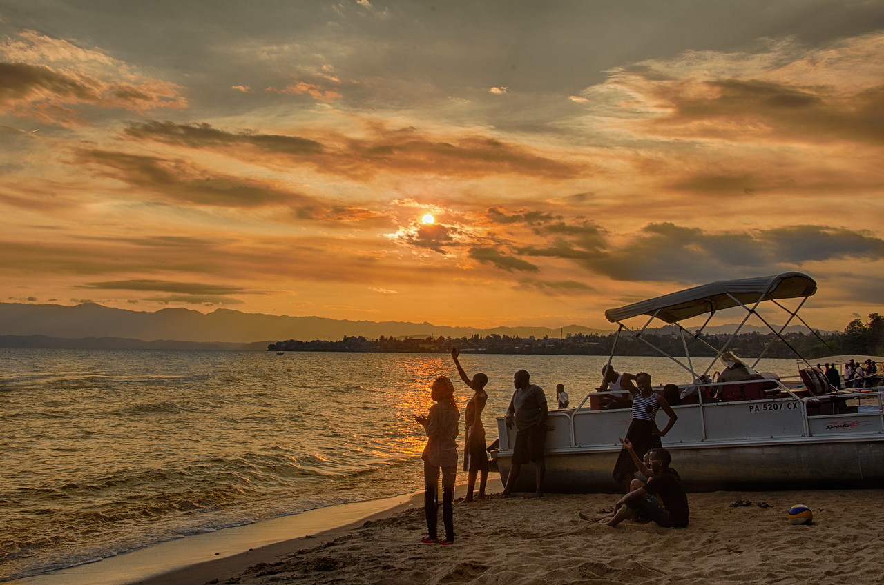 Sunset at Lac Kivu Hotel HDR