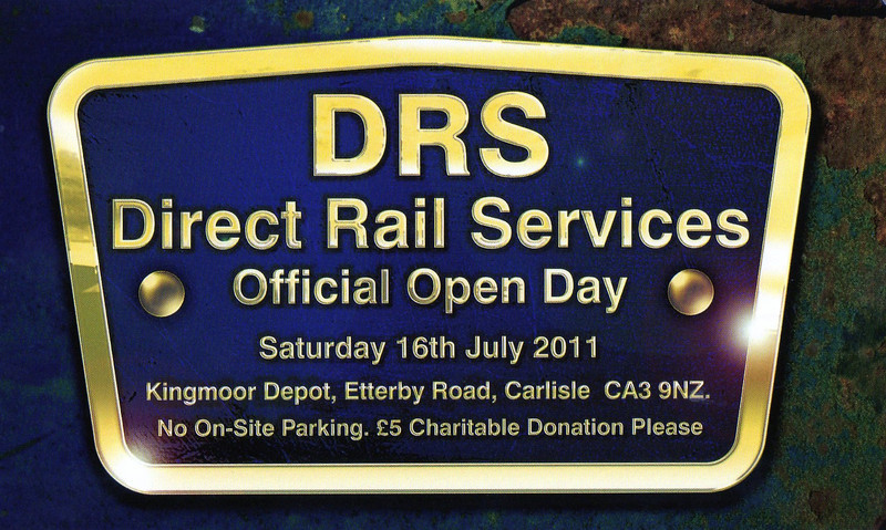 DRS Kingmoor open day 16th July 2011.<br /> <br /> This was the welcome cards that they where handing out this was for both me & Liz our first visit to DRS Kingmoor and it was a very good day out
